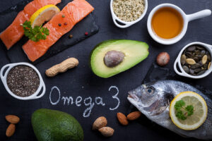 A close up image of foods that contain omega-3s.