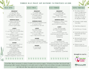 An image of page 1 of the three-day post-op ostomy guide