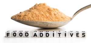 An up close image of food additives