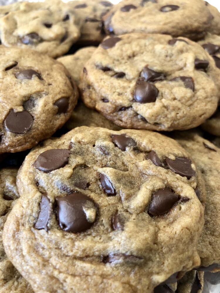 An up close image of homemade vegan chocolate chip cookies