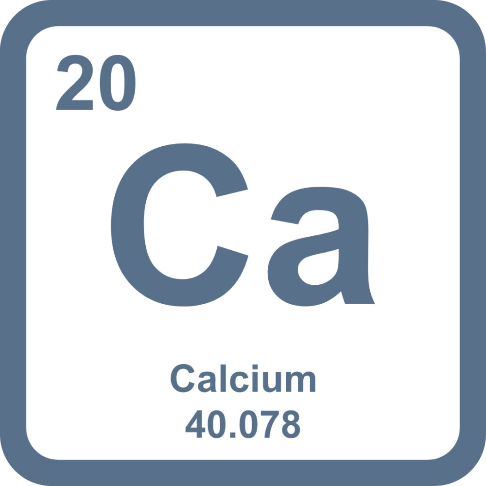 An up close image of the periodic table element of calcium